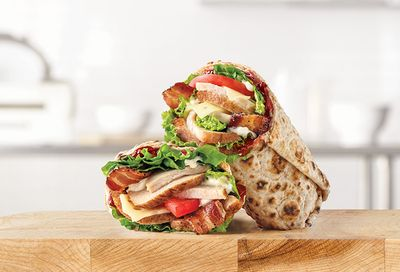 Limited Time Only Market Fresh Cranberry Deep Fried Turkey Wrap Available at Arby's