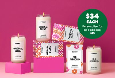 Dunkin' Donuts Original Blend and Old Fashioned Scented Candles Now Available through the Homesick Online Shop