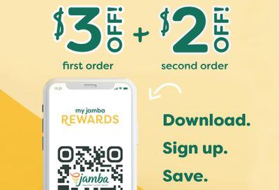 Newly Download the Jamba App and Join My Jamba Rewards to Save $3 with a $10+ In-App Purchase