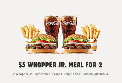 New $5 Whopper Jr. Meals for 2 Deal Arrives at Burger King