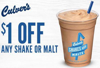 Culver's has Sent MyCulver's Rewards Members a New Coupon for $1 Off Any Regular Shake or Malt