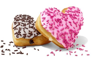 The Heart-Shaped Brownie Batter Donut and Cupid's Choice Donut Land at Dunkin' Donuts for Valentine's Day
