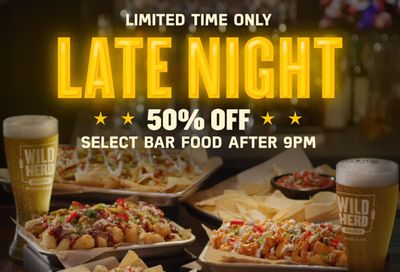 Save 50% Off after 9 PM on Select Dine-in Bar Food at Buffalo Wild Wings Through to August 31