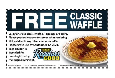 Regulars Club Members Check Your Inbox for a New Waffle House Coupon: Get a Free Waffle Through to September 12