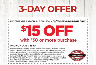 Rotisserie Rewards Members: Save $15 Off a $30+ Purchase with a New Boston Market Coupon