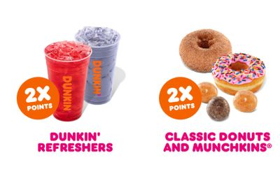 Receive Double the Rewards Points on Classic Donuts, Munchkins and Dunkin' Refreshers