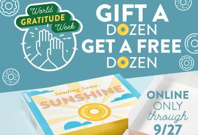 Get a Free Original Glazed Dozen Coupon When You Gift a Dozen Online or In-app at Krispy Kreme During World Gratitude Week