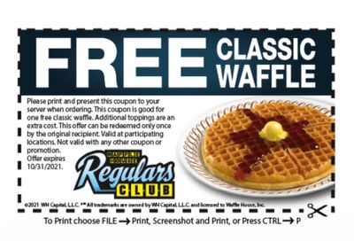 Free Classic Waffle for Members of the Waffle House Regulars Club with Coupon