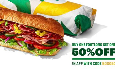 Buy 1 Footlong, Get Another at 50% Off with Online Subway Orders Using a New Promo Code